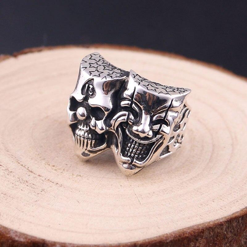 925 sterling argent double-face anneau hommes de punk style fine jewelry