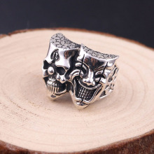 925 sterling silver double-sided ring men's punk style fine
