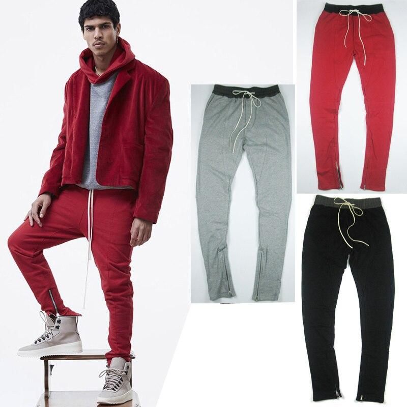 ФОТО High quality 2017 new streetwear casual menswear 90S fashion mens side zipper pants joggers plus size urban clothing sweatpants