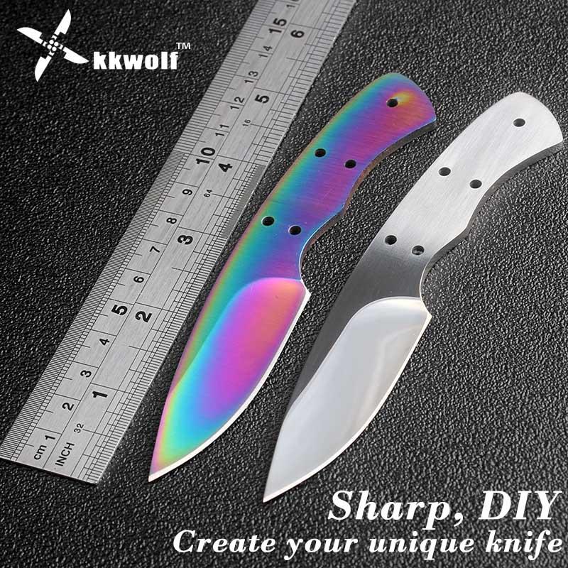 KKWOLF diy Fixed blade Knife Blanks 440c stainless steel DIY blades edc White pocket survival Hunting knife Multicolour knife