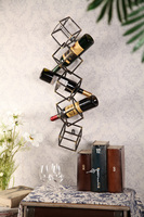 Artistical Iron Cube Wall Wine Rack Metal Wall D Wall Wine Holder