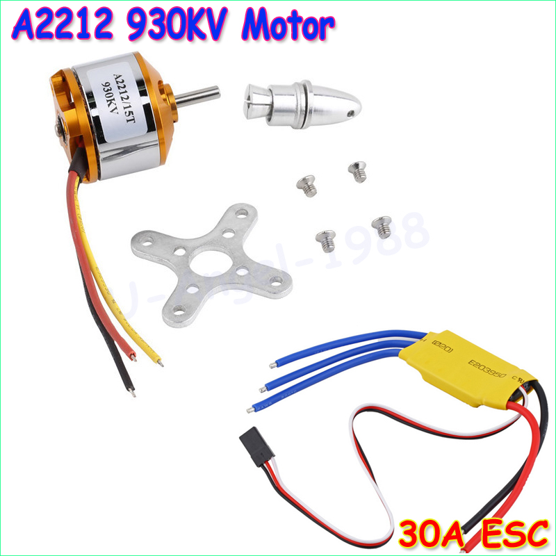 New  motor A2212 930KV Brushless Outrunner Motor W/ Mount 15T+  ESC 30A For RC Aircraft Quadcopter UFO 4pcs 6215 170kv brushless outrunner motor with hv 80a esc 2055 propeller for rc aircraft plane multi copter