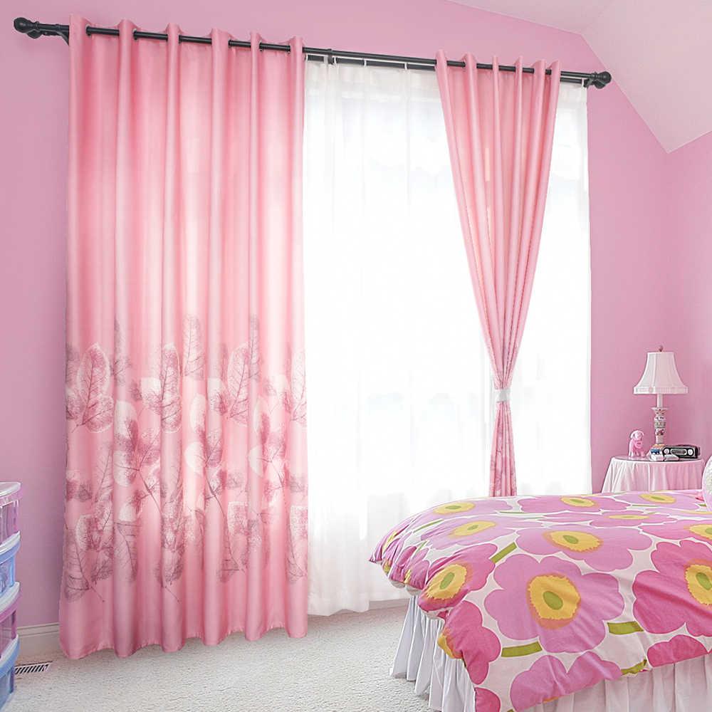 Urijk Pink Printed Curtains Modern Sheer Luxury Blackout Room Curtains For Living Room Bedroom Kids Children Room Home