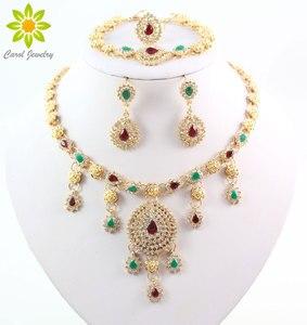 Image 1 - Золотое ожерелье, серьги, браслет, кольцо, ювелирный набор, нигерийские женские модные вечерние ожерелья, ювелирные наборы