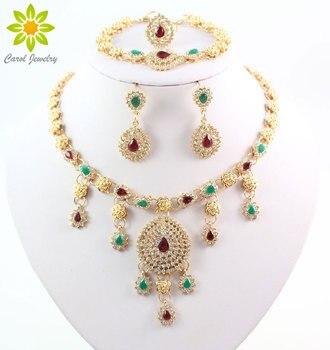 Collar de Color dorado pendientes pulsera anillo conjunto de joyas mujeres nigerianas moda fiesta collares conjuntos de joyas