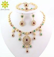 Złoty kolorowy naszyjnik kolczyki bransoletka pierścionek zestaw biżuterii nigeryjczyk kobiety moda Party naszyjniki zestawy biżuterii