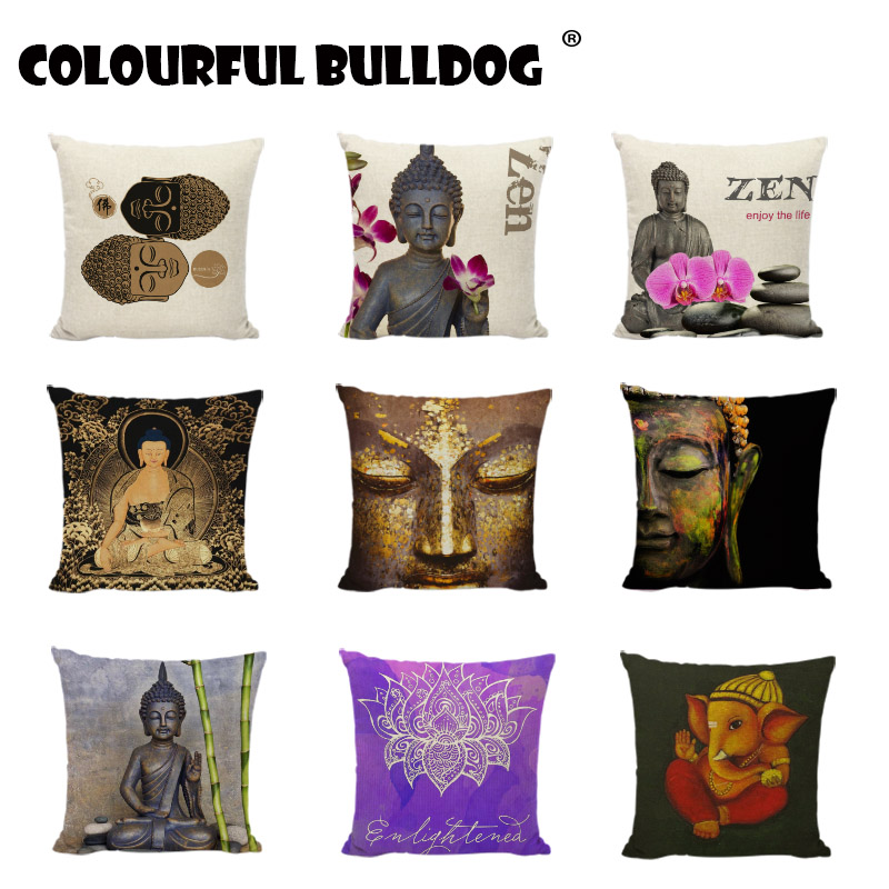 Buddha Cushion Covers Indian Style Bohemia Elephant Printed Pillowcase Couch Car Seat Home Decor Cotton Linen Throw Pillow Cover