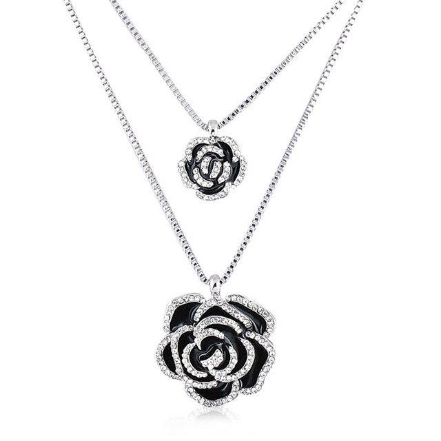 New fashion romantic black rose flower double silver chain pendant new fashion romantic black rose flower double silver chain pendant necklace for women bijoux fine jewelry aloadofball Gallery