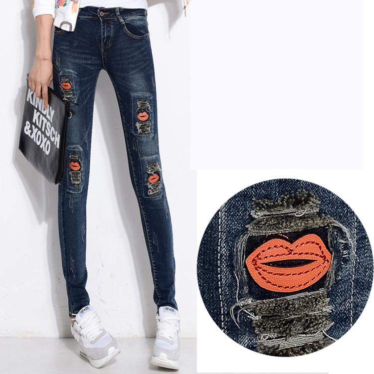 ФОТО 2016 New Spring Korean Version Red Lips Patchwork Female Denim Feet Pencil Pants Women Skinny Jeans Trousers High Waist Jeans