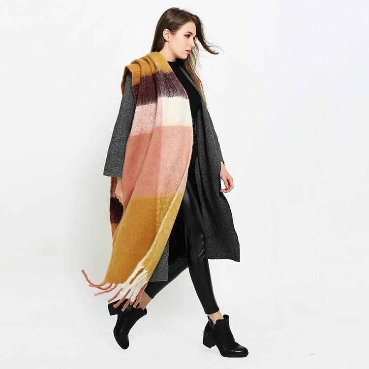 POBING Za Brand Winter Cashmere   Scarf   Euro Style Plaid Women   Scarves     Wrap   Warm Vintage Poncho Long Pashmina Shawls Blanket   Scarf