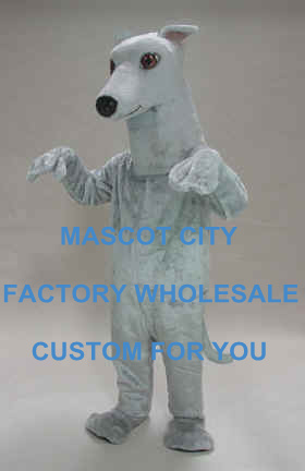 Best Quality Greyhound Dog Mascot Costume Foam Head With Helmet Cartoon Character Mascotte Outfit Suit Fancy Dress SW715