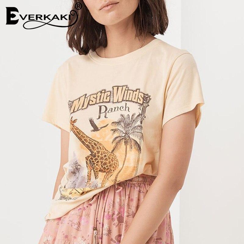 Everkaki 2019 Women Giraffe Print T Shirt Boho Khaki Tee Summer O Neck Short Sleeve Letters Shirt Casual Female Gypsy Tops