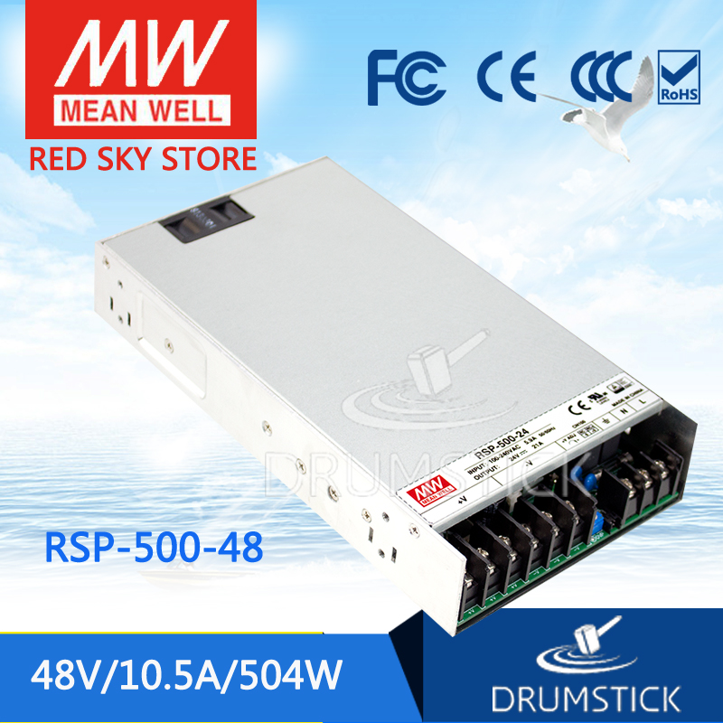 Hot! MEAN WELL RSP-500-48 48V 10.5A meanwell RSP-500 48V 504W Single Output with PFC Function Power Supply [cheneng]mean well original rsp 100 48 48v 2 1a meanwell rsp 100 48v 100 8w single output with pfc function power supply