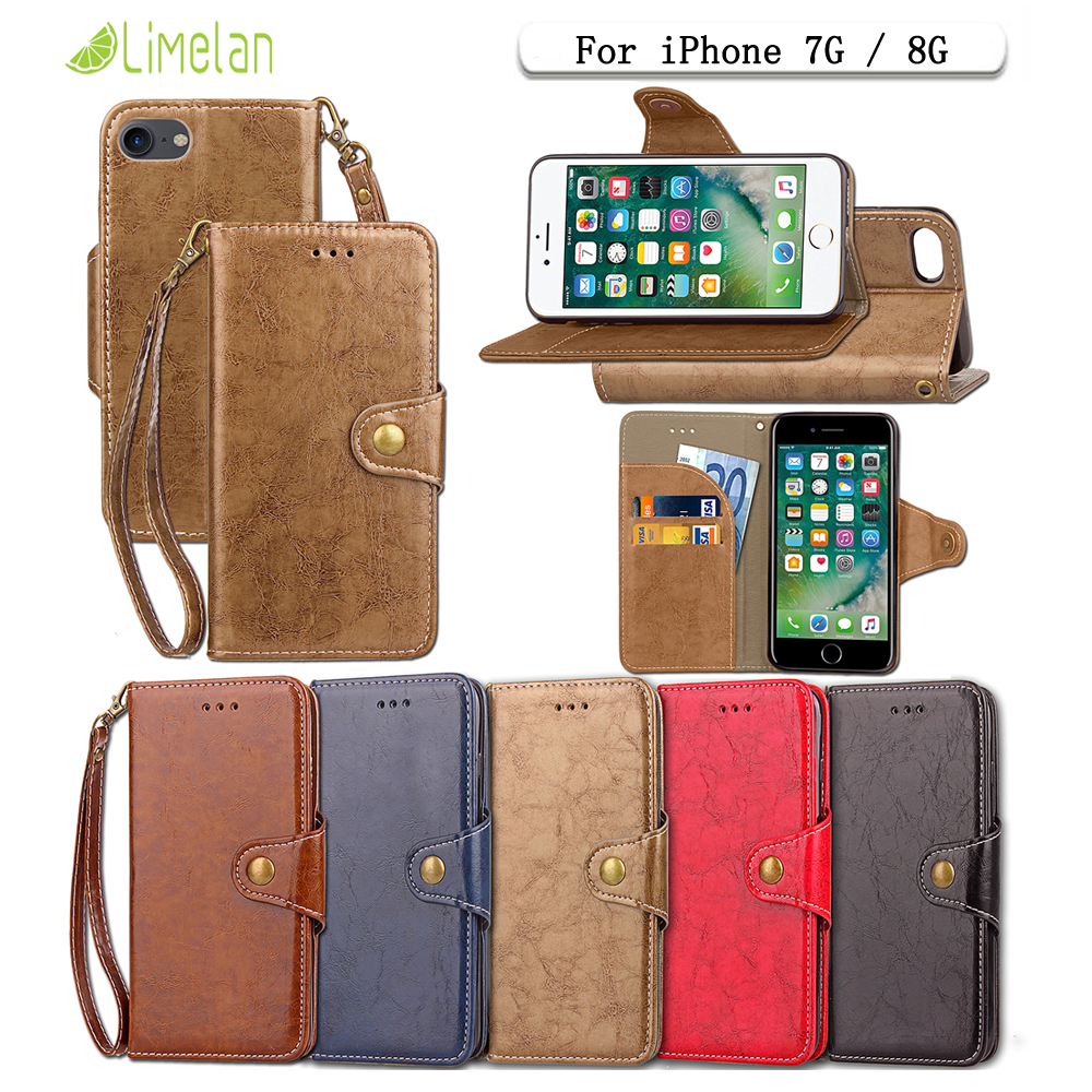 Limelan For iPhone 7 8 Oil Wax Phone Case Retro PU Leather Stand Flip Cover For Apple iPhone 7 ip8 Business Wallet Shell Bag