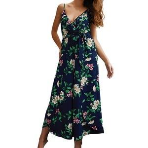 Summer ladies sling long section jumpsuit fashion printed jumpsuit Combinaison longue Mono estampado moda#JE-55