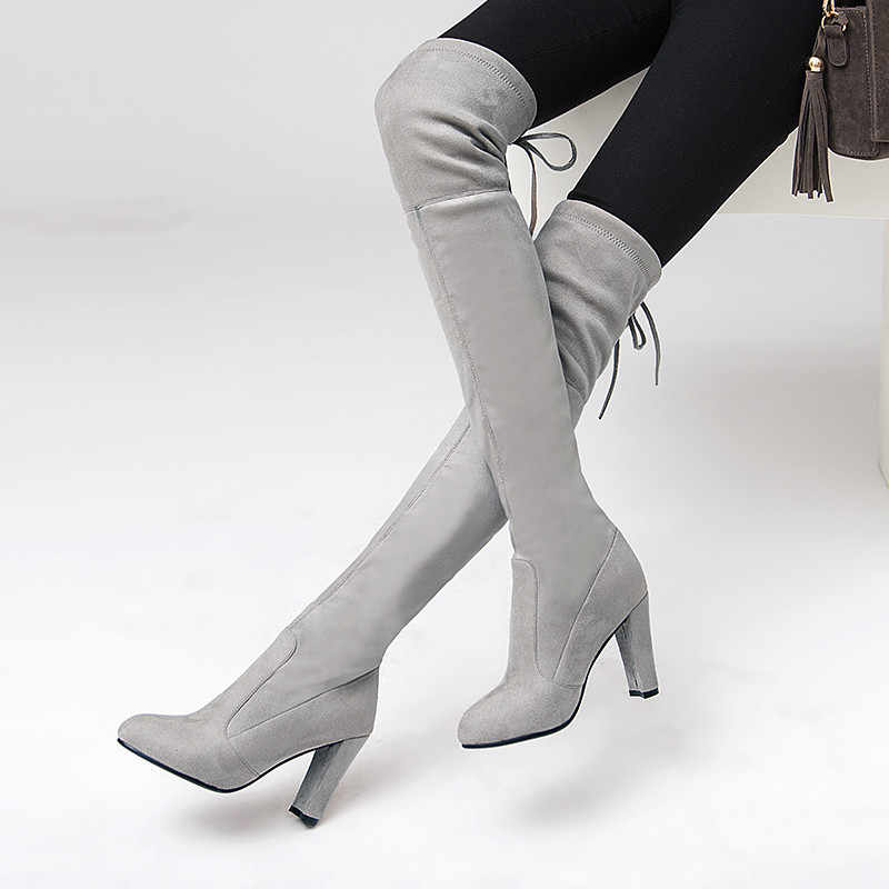 MEMUNIA 2020 Yeni diz çizmeler üzerinde kadın akın yuvarlak ayak sonbahar ince Streç çizmeler seksi yüksek topuklu parti balo ayakkabı kadın