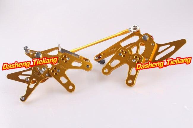 CNC Rearset задний Набор подножки для Kawasaki Ninja ZX10R 2006 2007 алюминиевый сплав золото, регулируемый