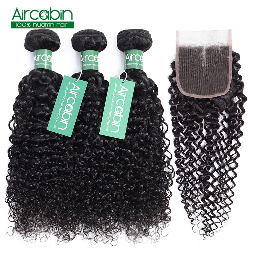 Aircabin Kinky Curly Bundles with Closure Brazilian Hair weave bundles Human Hair Bundles With Closure Hair