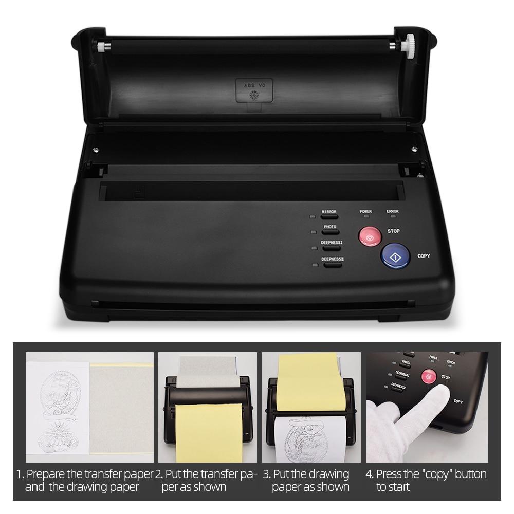 ATOMUS Machine de transfert de tatouage thermique copieur imprimante noir argent avec 1 pc papier de transfert