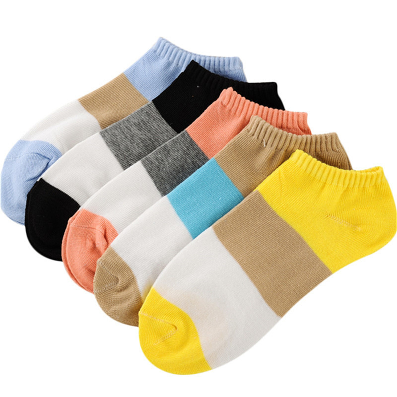 1pairs Women Striped Skateboard Casual Short Socks Female Comfortable Breathable Socks Summer Cotton Soft Footwear D0224 Attractive Appearance