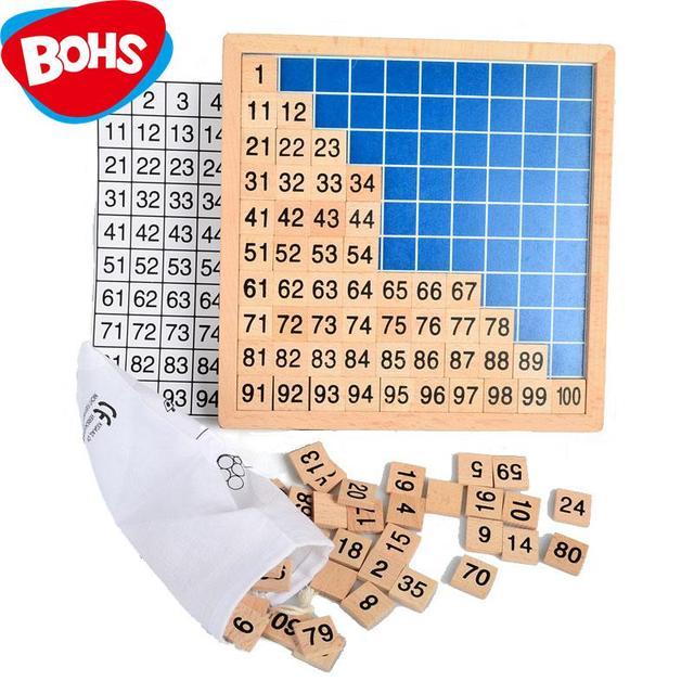 BOHS madera Montessori material de enseñanza matemáticas 1-100 números sucesivos TABLA DE CONTAR juguete