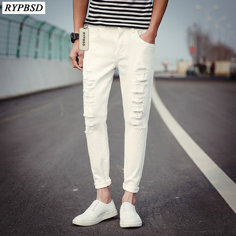 2017 Spring New Black White Hole Jeans Ripped Pants Men Casual Trousers Solid Pencil Pants Men Street Hip Hop Joggers Trousers