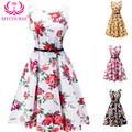 MYCOURSE Vintage Blossom Print Sleeveless Dress Audrey Hepburn Floral Robe Retro Swing Casual 50s Rockabilly Dresses Vestidos