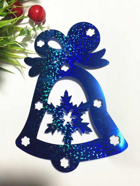 6 uds campana grande lentejuelas 115*160mm decoración de Navidad grande PVC holograma Festival DIY accesorios artesanías láser azul