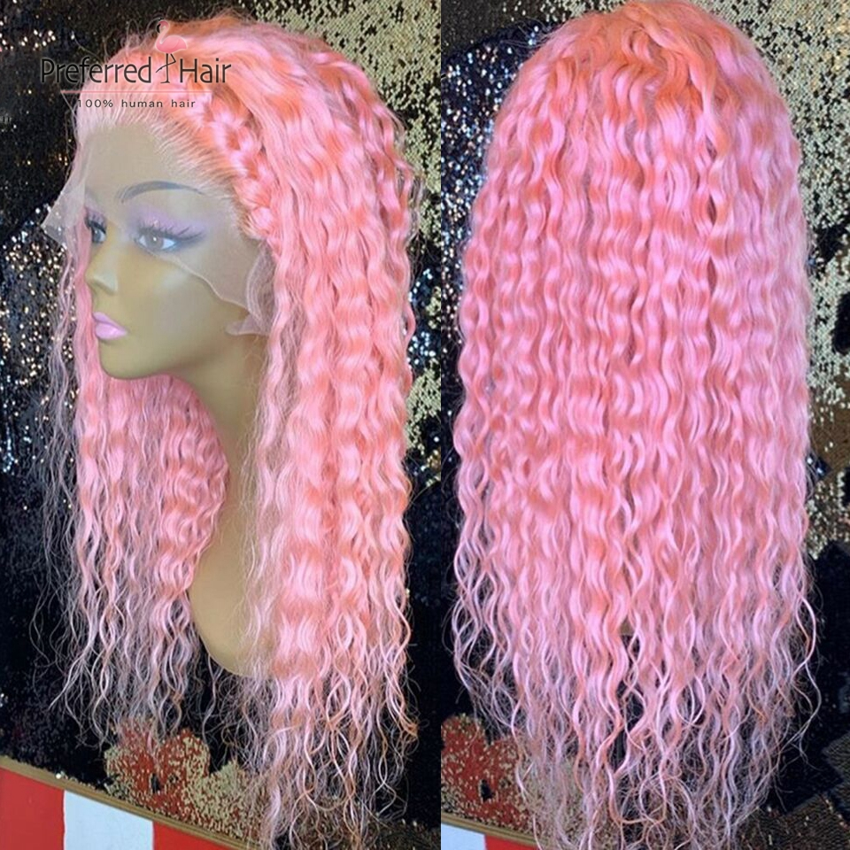 Preferred Pink Curly Human Hair Wig Pre Plucked With Baby Hair Remy Brazilian Wig Orange Color Lace Front Wigs For Black Women