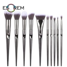 ESOREM 10pcs Fashion Makeup Brushes Synthetic Metallic Handle Brush Flat Definer Angled Contour Pinceau Maquillage 062602