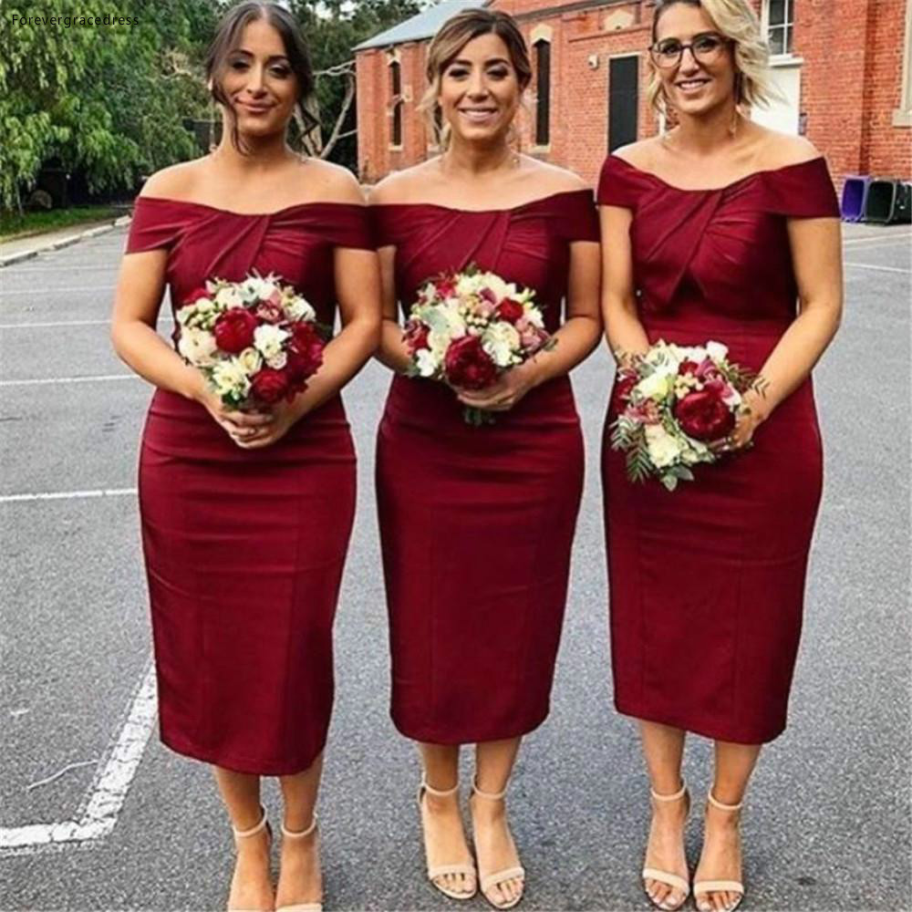 2019 Burgundy Bridesmaid Dress Tea Length Western Summer Country Garden Formal Wedding Party Guest Maid Of Honor Gown Plus Size
