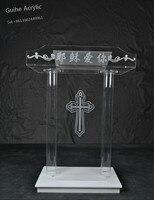 Acrylic Podium Designs Podium Pulpit Lectern Clear Mobile Podium Reception Desk Speaker GUIHEYUN Brand