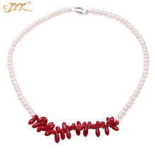 JYX Elegant Red Coral Pendant With White Freshwater Pearl Necklace Charming coral  Choker 16