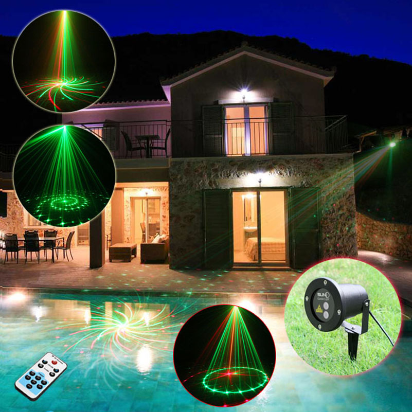 12 Patterns Red Green Outdoor Christmas Lights Laser Projector Remote With Time Setting Ip65