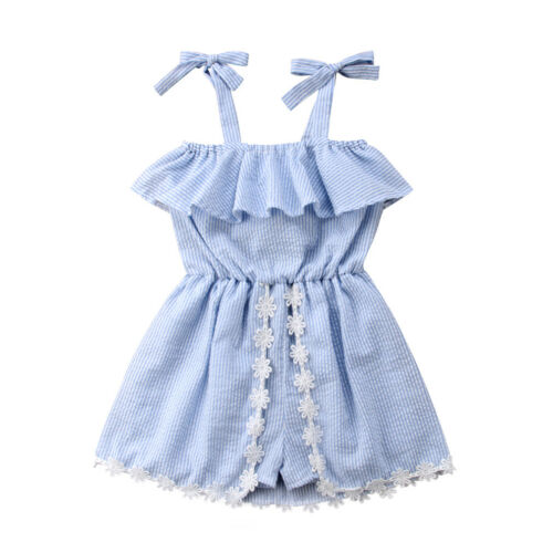 Pudcoco Kid Baby Girls Lace Striped   Romper   Jumpsuit Tutu Dress Sundress Clothes
