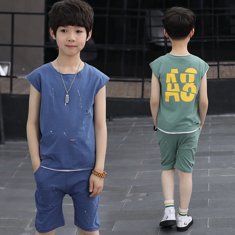 Children Boys Letter Print Clothing Set 100% Cotton Summer Sleeveless Ripped T Shirt Shorts Boy Sports Suit 5-12 Years Tracksuit