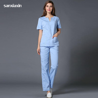 100%Cotton new Medical Scrub Sets Doctors and Nurses Hospital Uniforms Fashion Design Slim Fit Beauty Salon Workwear Suits