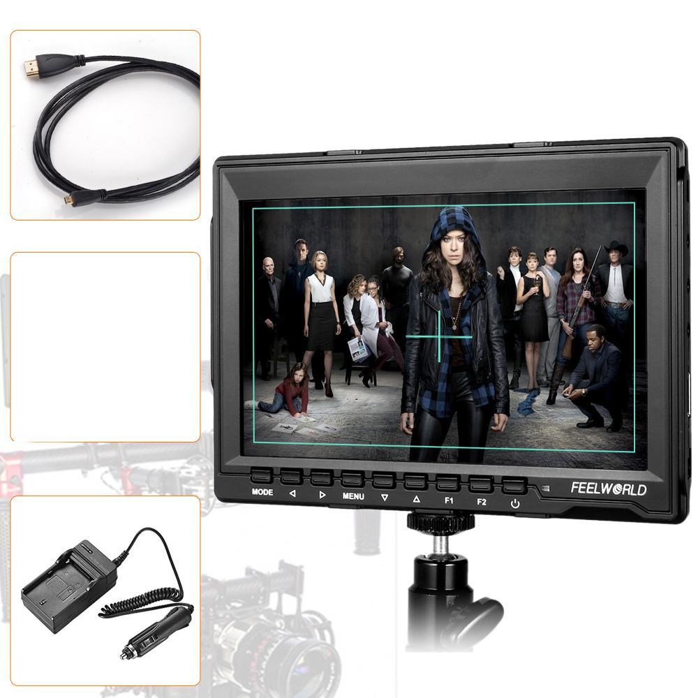 FW759 키트 7 인치 1280x800 HD IPS 패널 LCD DSLR 필드 카메라 모니터 HDMI 입력 BMPCC + HDMI 케이블 + + 자동차 충전기