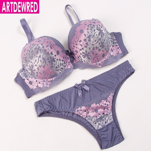 032f5093b719e ARTDEWRED Sexy DE Embroidery Women Bra Set Lace Plus Sizes Bra Brief Sets  Push Up 38 40 42 44 46 48 Bralette Panty Underwear Set