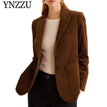 YNZZU Vintage Single Breasted Corduroy Blazer Women 2019 Spring Elegant Blazers and Jackets Loose blazer feminino YO763