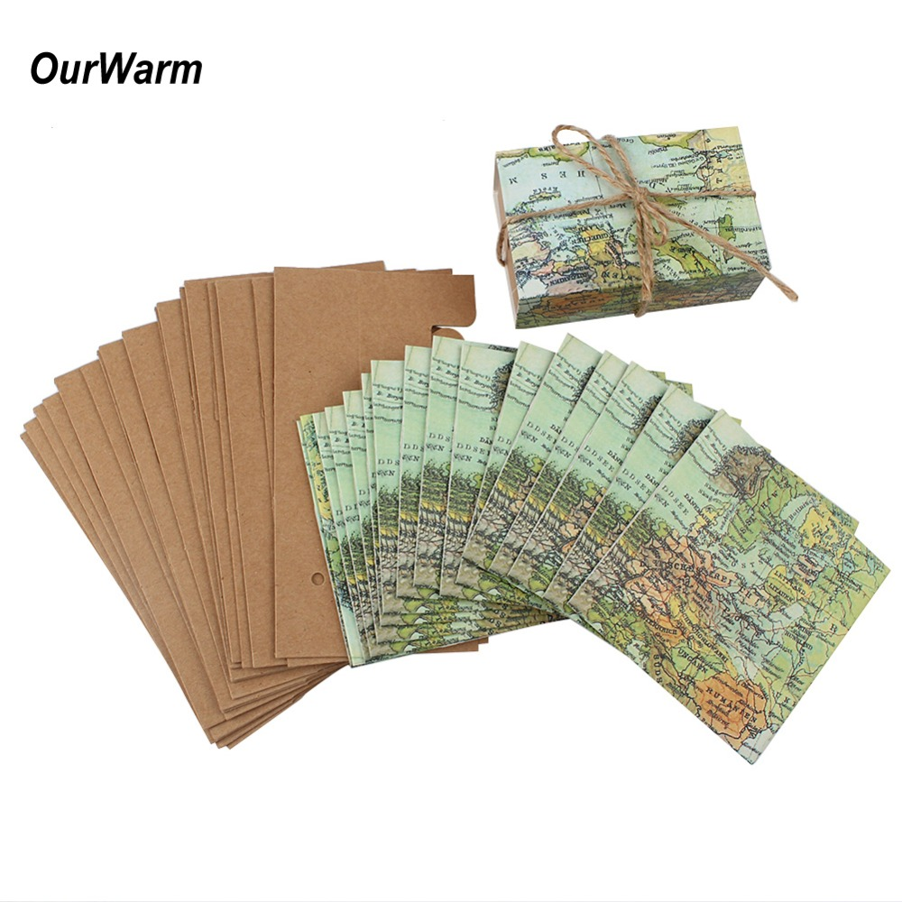 OurWarm 10pcs Paper Kraft Candy Gift Box World Map Traveling Sweet Bags Wedding Birthday Baptism Party Favors Supplies