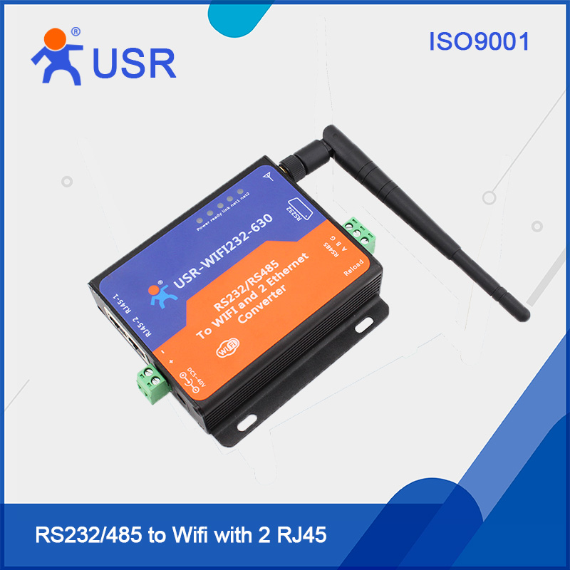 USR-WIFI232-630 Serial To Wifi Converters WiFi To Ethernet Or Serial RS232 RS485 Power Supply ESD Protection With CE FCC industrial grade port powered serial interface converter from rs232 to rs485 with 600w surging protection 232 to 485 485 to 232