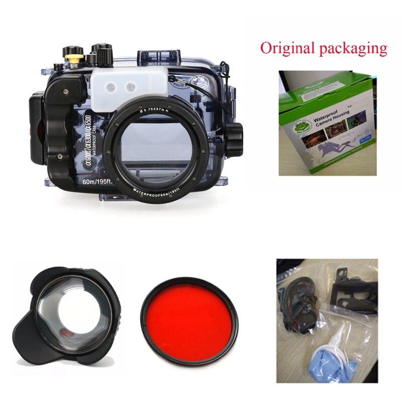 Boîtier de caméra sous-marine de sacs d'appareil-photo imperméables de gens de mer 40 m/130ft pour l'appareil-photo de Sony A6000/A6300/A6500