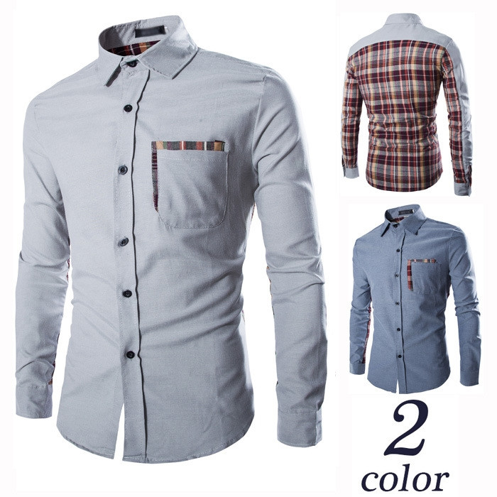 Brand New Men's Casual Shirt Social Plaid Patchwork Color Shirt Full Sleeve Turn Down Collar