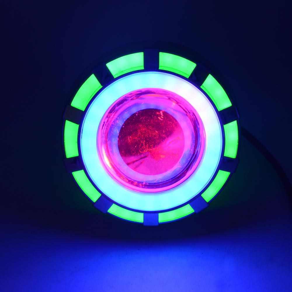 Doble LED de coche COB Ojos de Ángel lente de faro H1 Bi Xenon Mini proyector Demon Eyes DRL H4 H7 motocicleta lámpara retroadaptable