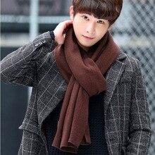 Зимние мужские шарфы из кашемира, тёплые вязаные шарфы для мужчин, плотные шарфы из кашемировой ткани