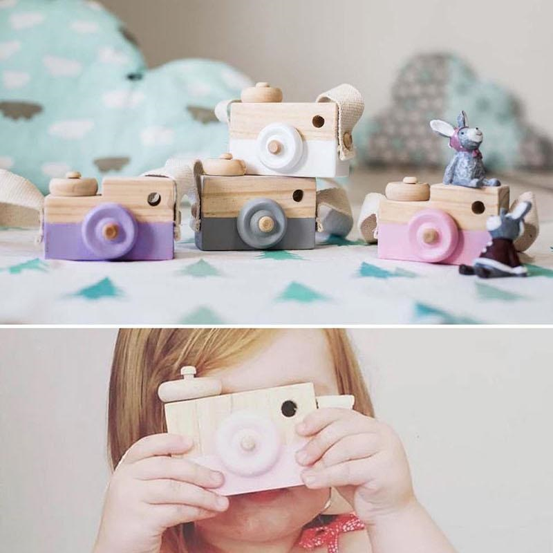 Wooden Toy Camera Kids Creative Neck Photography Prop Decor Children Festival Gift Baby Educational Toys Gifts Hot Sale 6 Colors