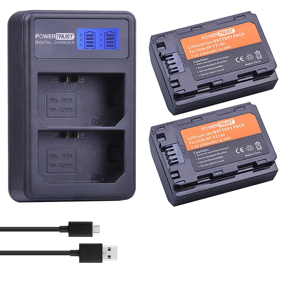2x 2280mAh NP-FZ100 NPFZ100 NP FZ100 Battery + LCD Dual USB Charger for Sony BC-QZ1 Alpha 9 9R A9R 9S ILCE-9 A7R A7 III ILCE-7M3