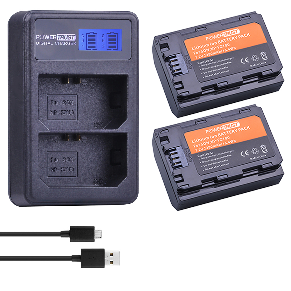 2x2280 mah NP-FZ100 NPFZ100 NP FZ100 Batterie + LCD Double USB Chargeur pour Sony BC-QZ1 Alpha 9 9R a9R 9 s ILCE-9 A7R A7 III ILCE-7M3