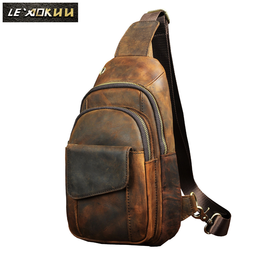 "Hot Sale Men Crazy Horse Leather Casual Fashion Chest Sling Bag 8"" Tablet Design One Shoulder Bag Cross body Bag Male 8013 d-in Waist Packs from Luggage & Bags"